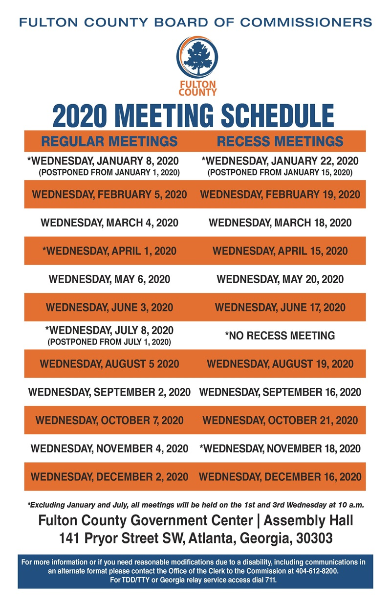 2020 Board of Commissioners Meeting Schedule